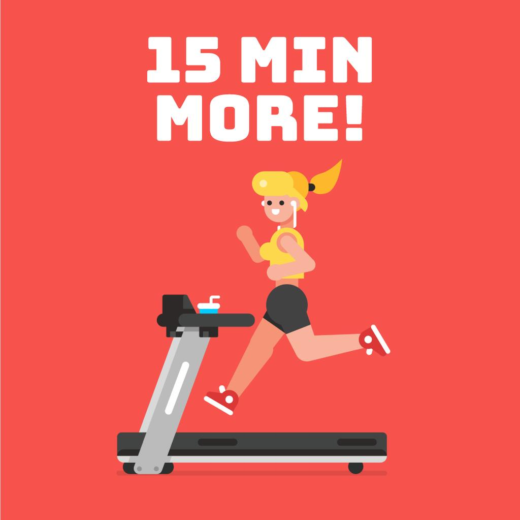 Gym Motivation Girl on Treadmill in Red | Square Video Template — Modelo de projeto