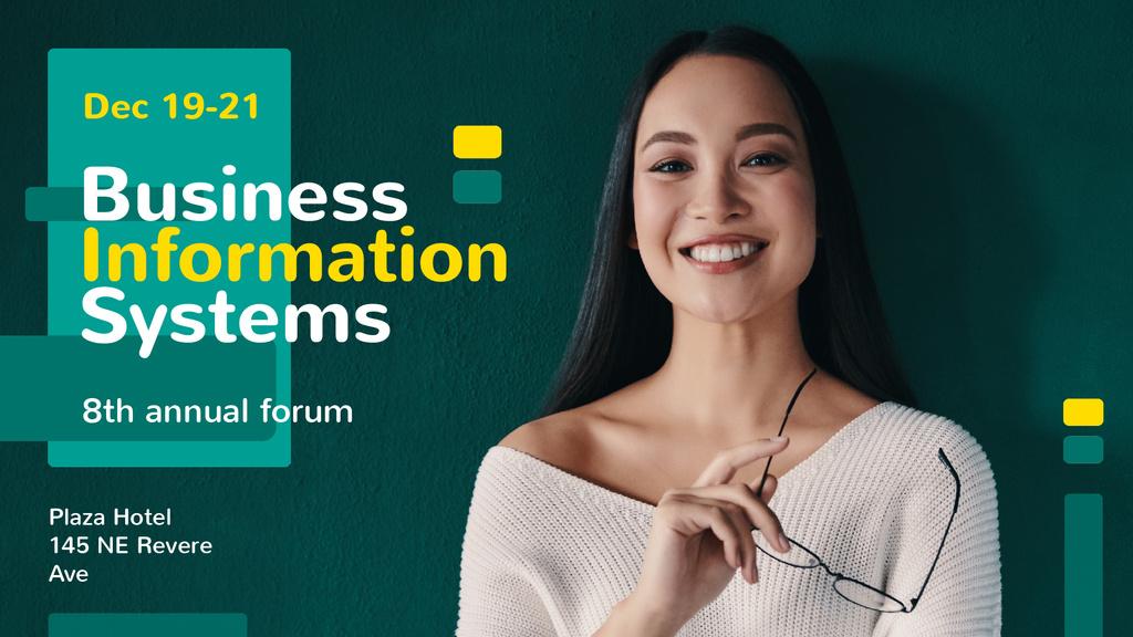 Business Conference Announcement Smiling Businesswoman | Full Hd Video Template — Modelo de projeto