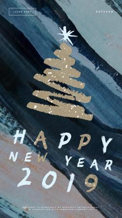 New Year shining Glitter Tree Instagram Video Story Design Template