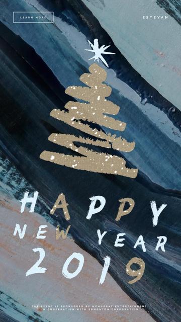 Modèle de visuel New Year shining Glitter Tree - Instagram Video Story