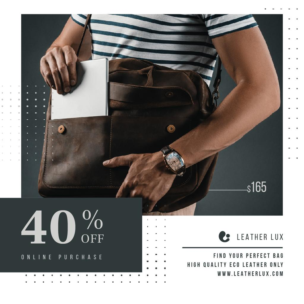 Bag Store Promotion Man Carrying Briefcase — Crear un diseño