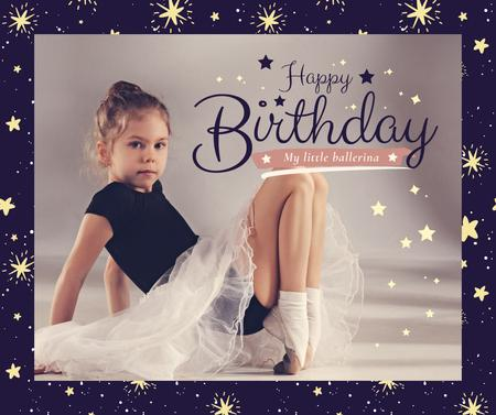 Ontwerpsjabloon van Facebook van Girl in ballerina skirt on her Birthday