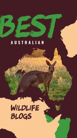 Wild kangaroo in nature Instagram Story Design Template