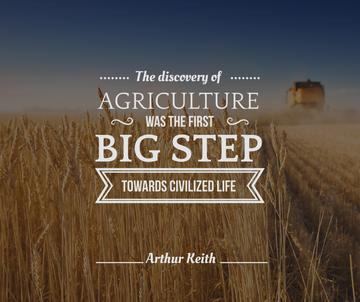 combine harvester on field with quote