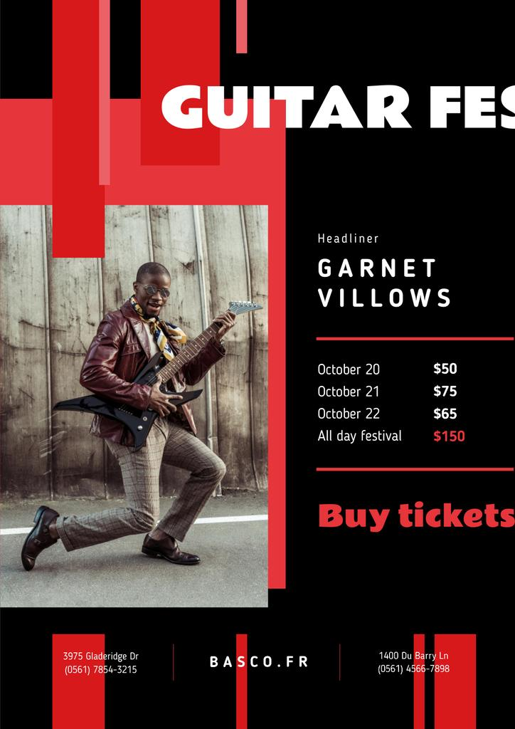 Music Festival Invitation with Man Playing Guitar — Maak een ontwerp