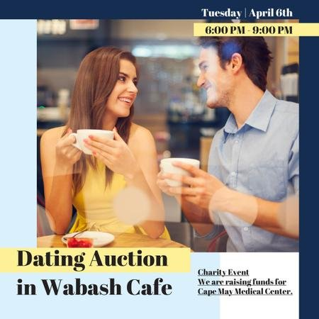 Plantilla de diseño de Dating Auction in Couple with coffee in Cafe Instagram AD