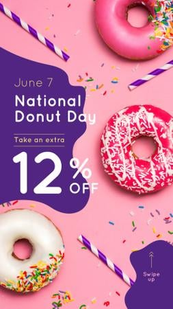 Donut Day Offer with Delicious glazed donuts Instagram Story Design Template