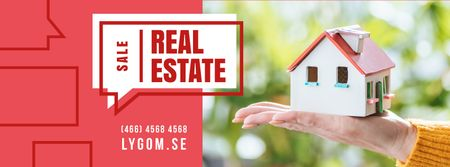 Real Estate Ad with Hand Holding House Model Facebook cover Design Template
