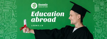 Plantilla de diseño de Abroad Education Program Student with Diploma Facebook cover