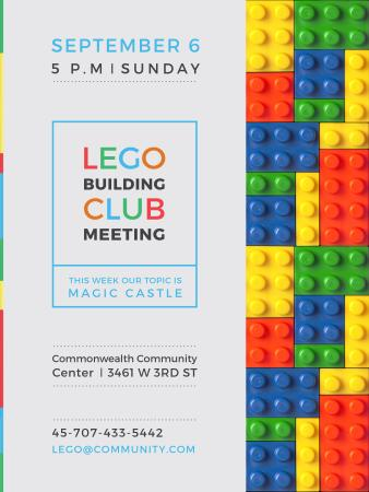 Plantilla de diseño de Lego Building Club meeting Constructor Bricks Poster US