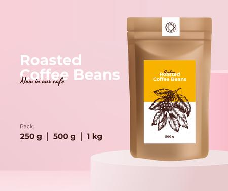 Ontwerpsjabloon van Facebook van Coffee Roastery promotion with Beans