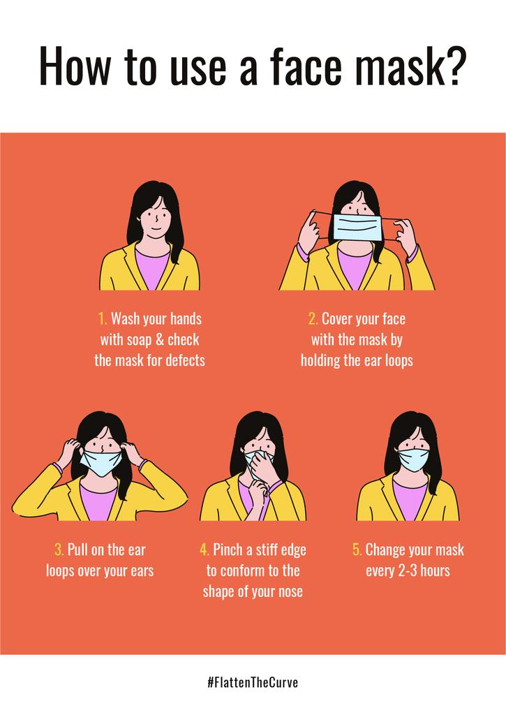 #FlattenTheCurve safety rules with Woman wearing Mask —デザインを作成する