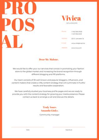 Ontwerpsjabloon van Letterhead van Marketing Agency services proposal