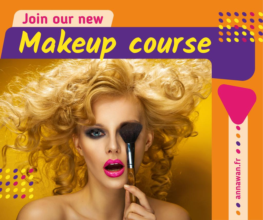 Makeup Course Ad Attractive Woman Holding Brush Facebookデザインテンプレート