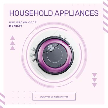Appliances Offer with Robot Vacuum Cleaner | Square Video Template