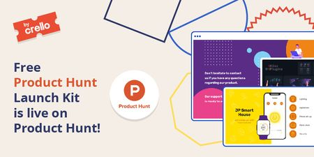 Product Hunt Launch Kit Offer with Digital Devices Screen Twitter Modelo de Design