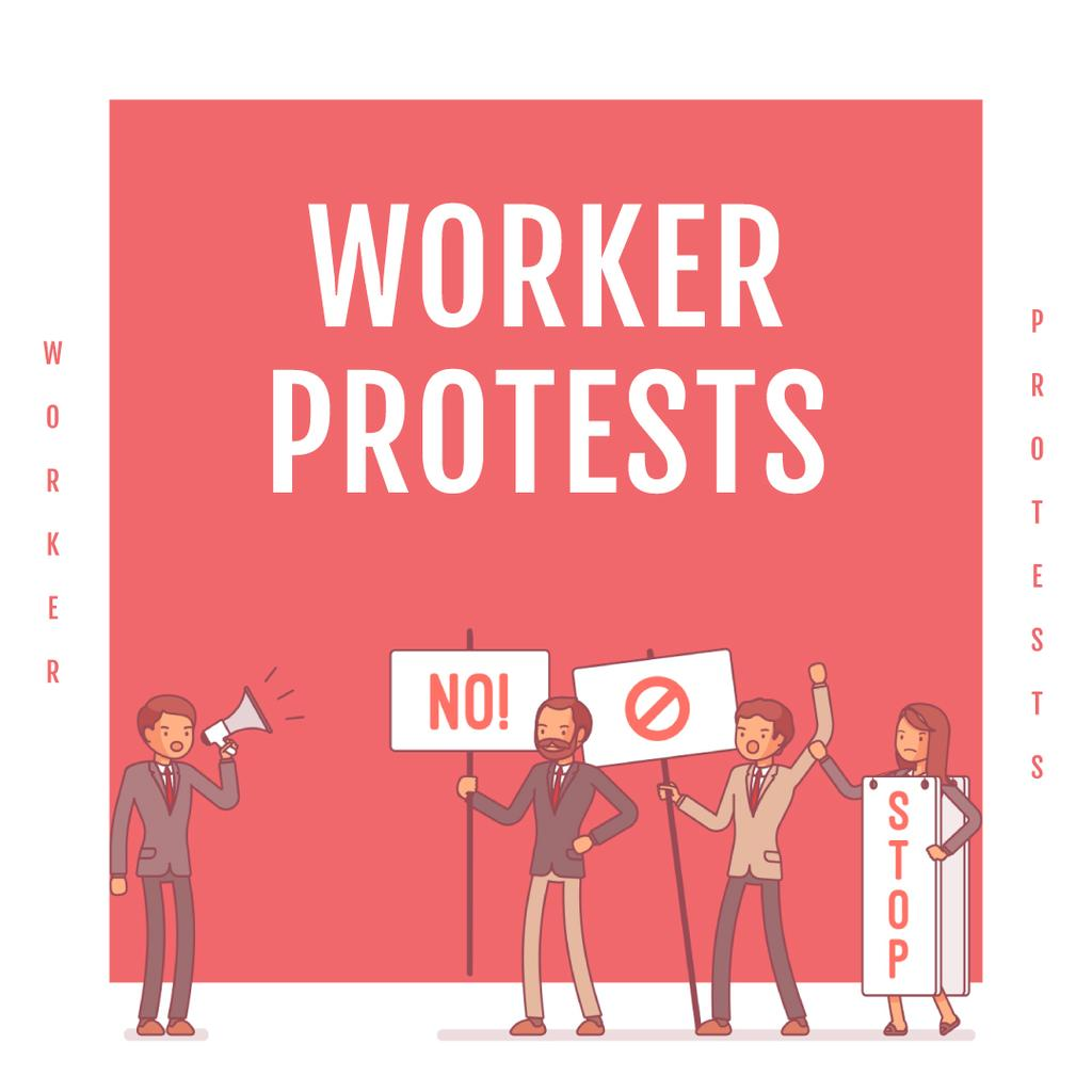Workers protesting on street — Создать дизайн