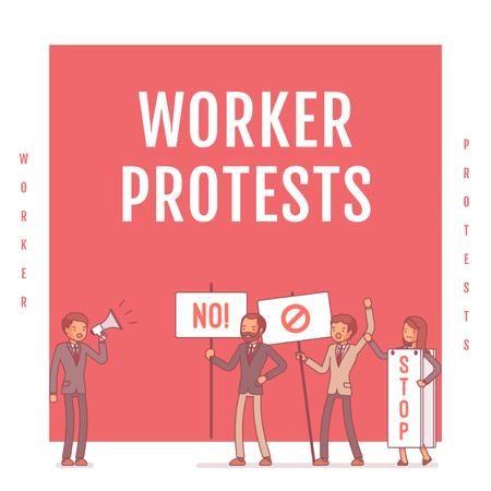 Workers protesting on street Instagram Modelo de Design