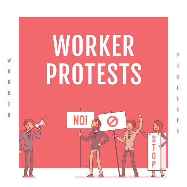 Workers protesting on street Instagramデザインテンプレート