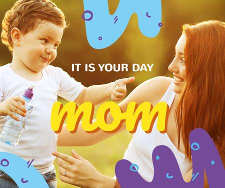 Happy mom with her son on Mother's Day Facebook Modelo de Design