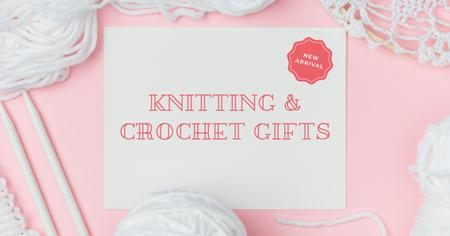 Knitting and Crochet Store in White and Pink Facebook ADデザインテンプレート