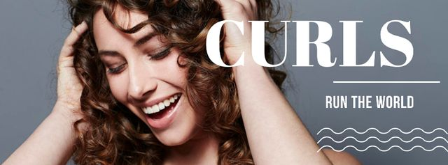 Ontwerpsjabloon van Facebook cover van Curls Care tips with Woman with shiny Hair