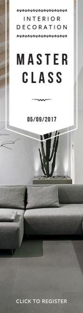 Designvorlage Interior Decoration Event Announcement Sofa in Grey für Skyscraper