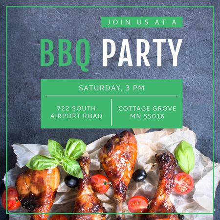 BBQ Party Invitation Grilled Chicken Instagram AD – шаблон для дизайна