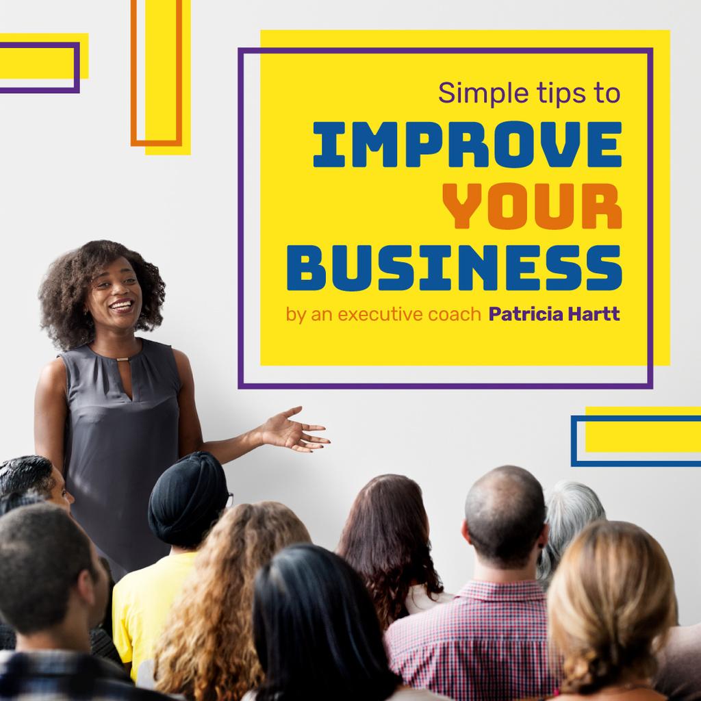 Businesswoman presenting in front of colleagues — Crea un design