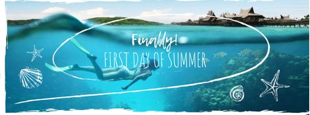 First day of summer with diving Girl Facebook coverデザインテンプレート