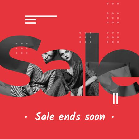 Sale Ad with Girls in stylish outfits Instagramデザインテンプレート