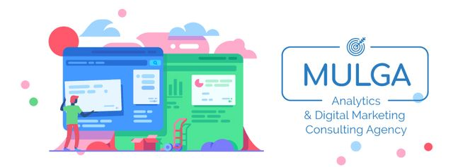 Man creating website Facebook Video cover – шаблон для дизайна