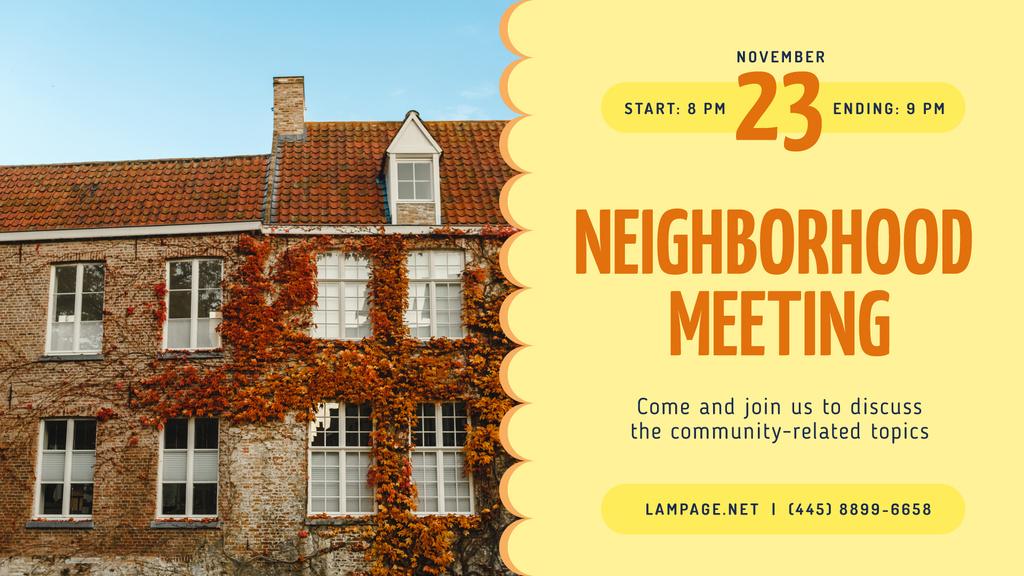 Neighborhood Meeting Announcement Old Building Facade | Facebook Event Cover Template — Créer un visuel