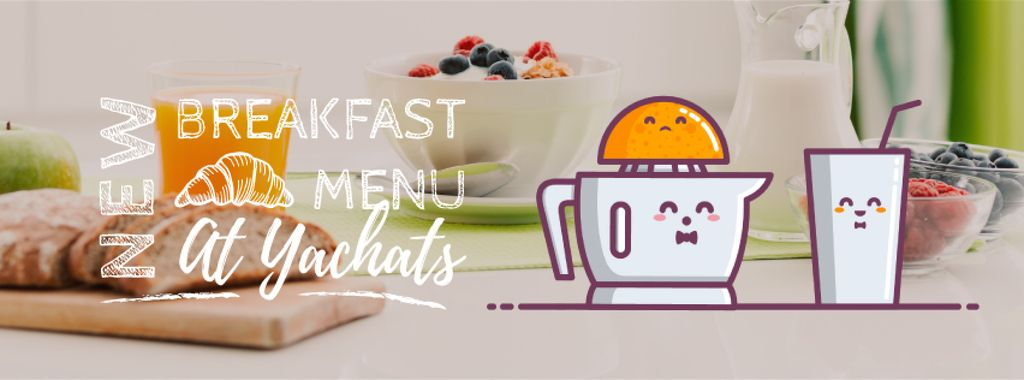 Breakfast Menu Promotion Citrus Juicer with Glass — Modelo de projeto