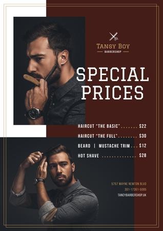 Plantilla de diseño de Barbershop Ad with Stylish Bearded Man Poster