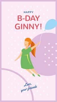 Girl flying on Birthday balloon