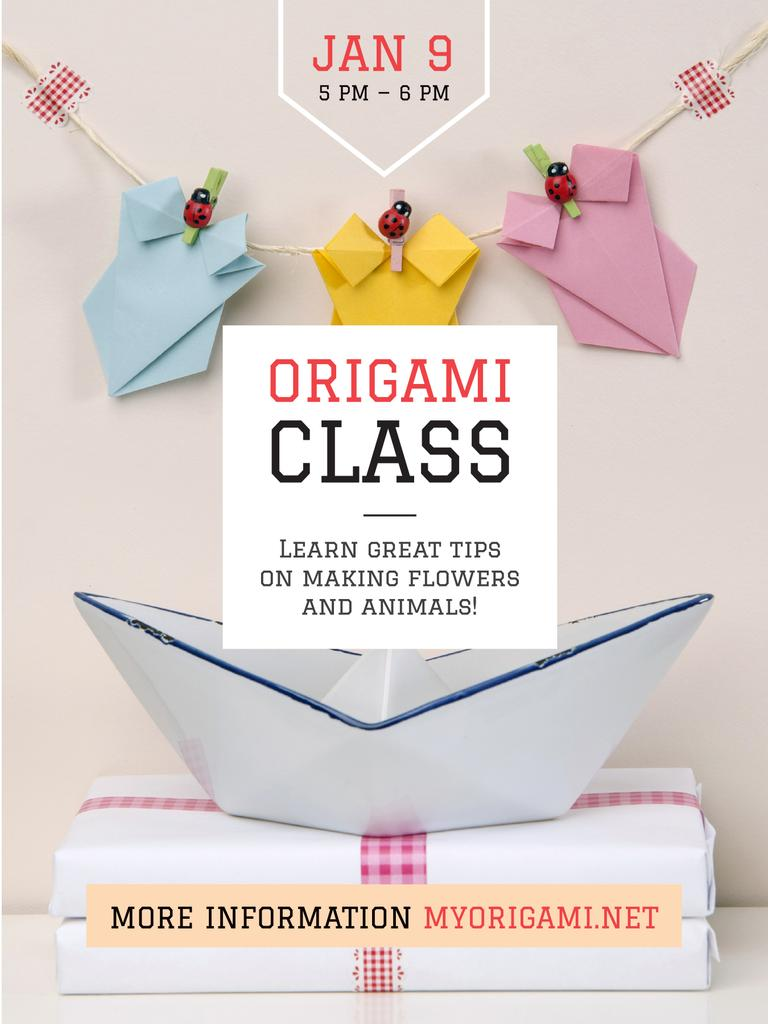 Origami Classes Invitation Paper Garland Poster US Modelo de Design
