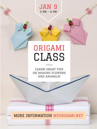 Plantilla de diseño de Origami Classes Invitation Paper Garland Poster US