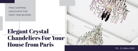 Plantilla de diseño de Elegant Crystal Chandeliers Offer in White Facebook cover