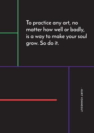 Citation about practice to any art Poster – шаблон для дизайну