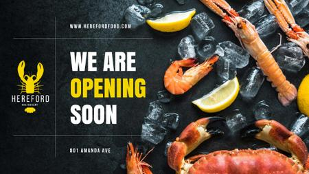 Restaurant Ad Fresh Seafood on Ice FB event cover Modelo de Design