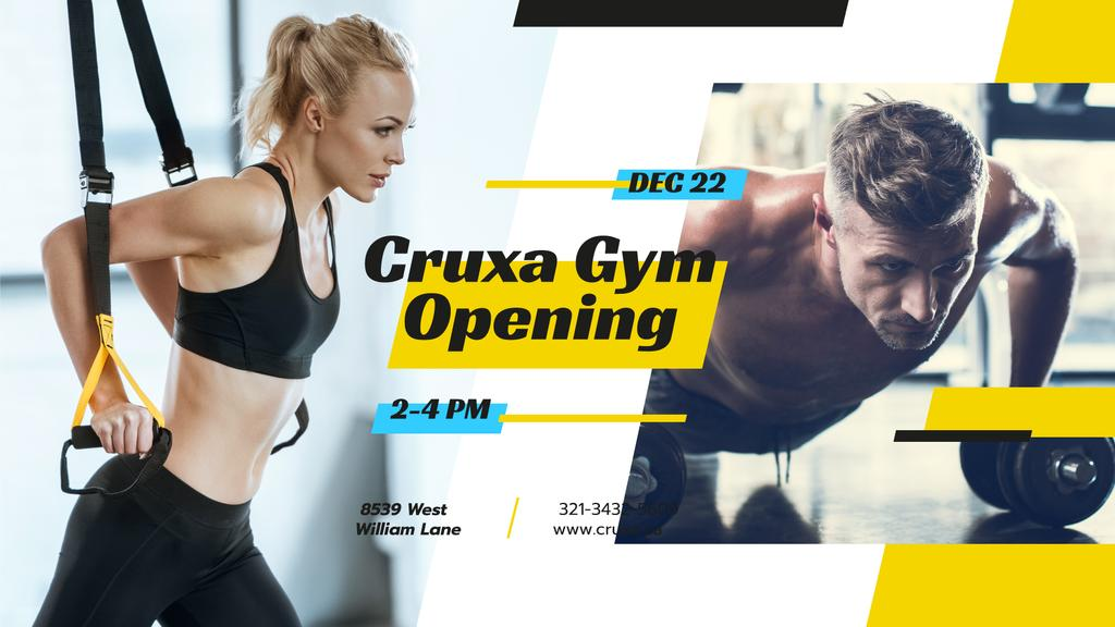 Gym Opening announcement People Working Out — Maak een ontwerp