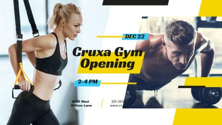 Ontwerpsjabloon van FB event cover van Gym Opening announcement People Working Out