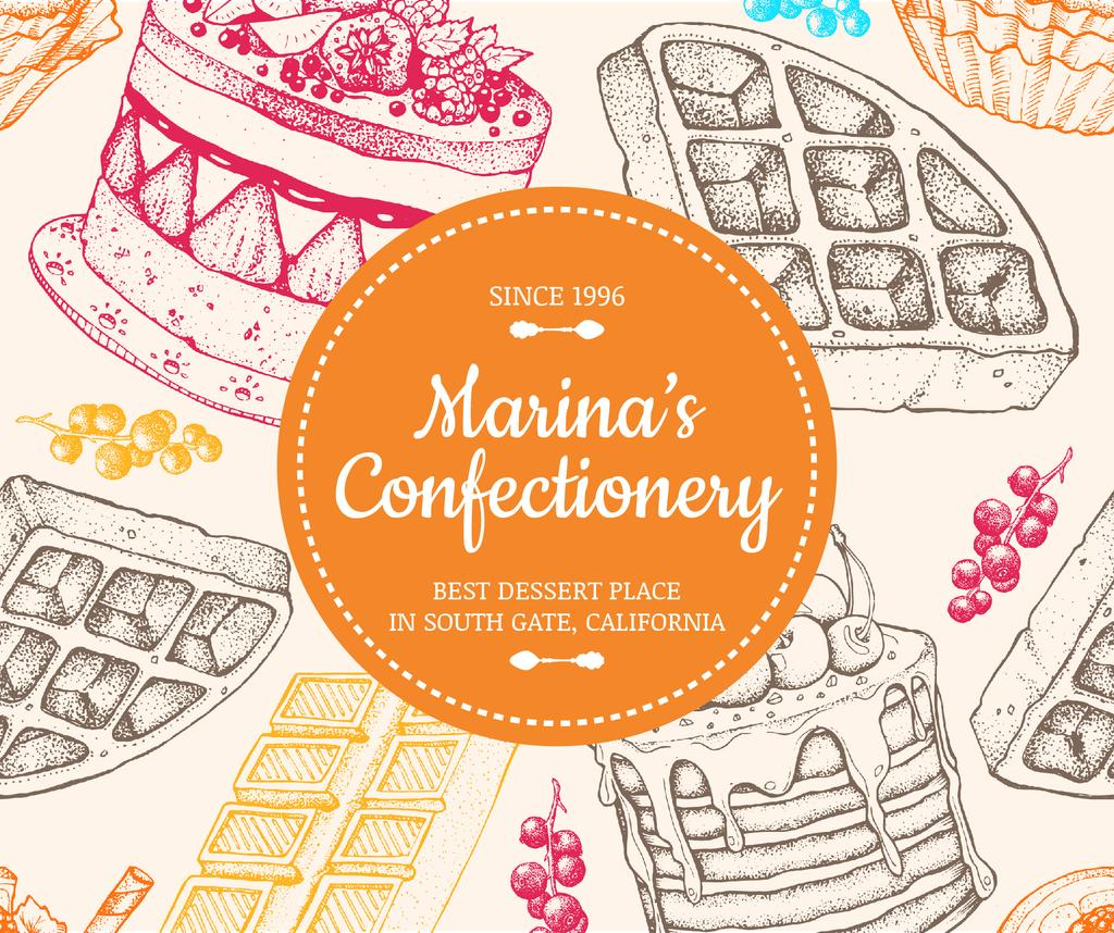 Confectionery Waffles and Cakes Sketches - Bir Tasarım Oluşturun