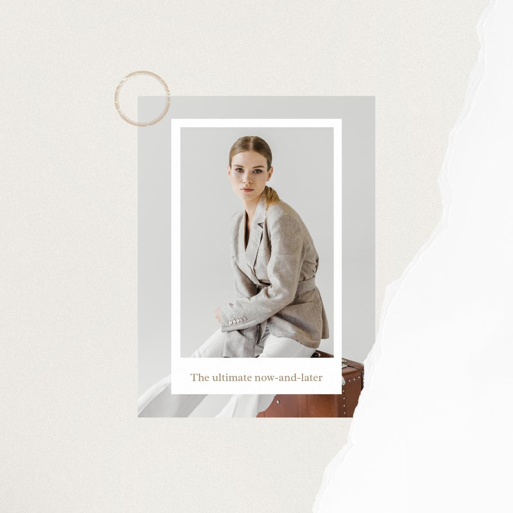 Fashion ad Elegant Woman in Stylish Clothes —デザインを作成する