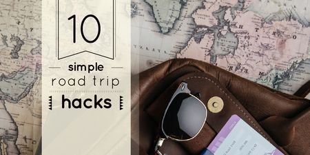 Travel Tips with Vintage Map and Bag Twitter Design Template