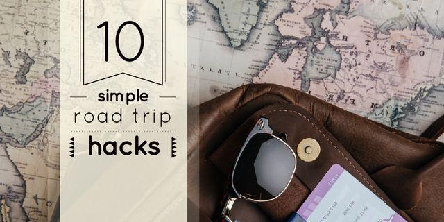 Designvorlage Travel Tips with Vintage Map and Bag für Twitter