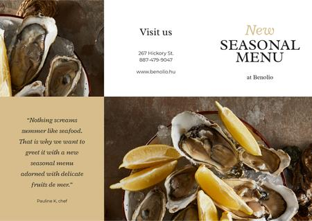 New Seasonal Menu with Seafood Brochure Modelo de Design