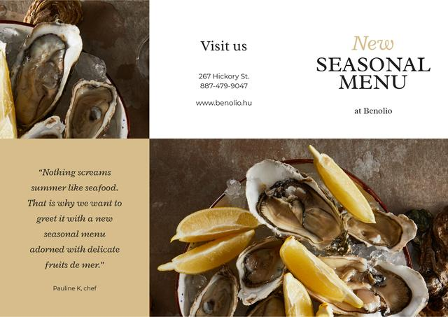 Template di design New Seasonal Menu with Seafood Brochure
