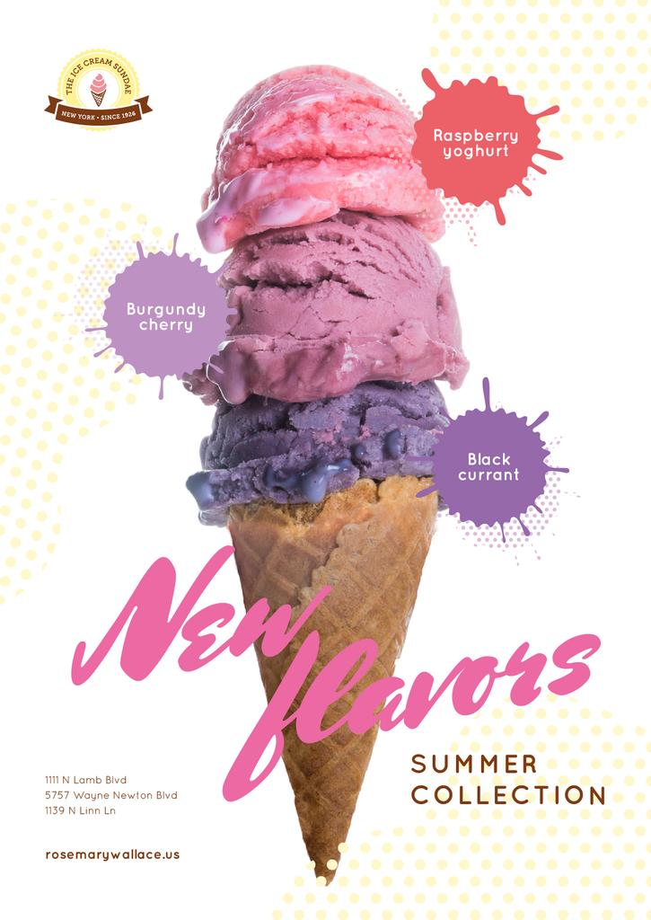 Ice Cream Ad Colorful Scoops in Cone | Poster Template — Створити дизайн